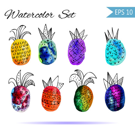 Vector watercolor Set with colorful rainbow pinapple and black hand-drawn elements. On white background. Creative design. Modern style. Grouped and isolated