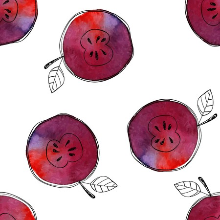 Vector Seamless pattern of watercolor red apple with black hand-drawn elements. On white background. Grouped and isolated. Modern design. Creative style. Handmade.