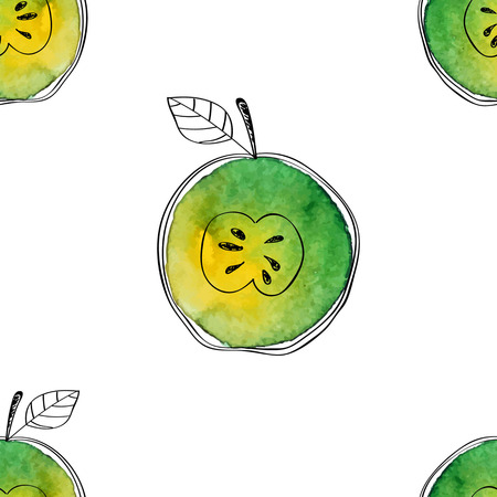 Vector Seamless pattern of watercolor green apple with black hand-drawn elements. On white background. Grouped and isolated. Modern design. Creative style. Handmade. Stock Illustratie