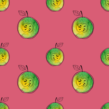 Vector Seamless pattern of watercolor green apple with black hand-drawn elements. On contrast pink background. Grouped and isolated. Modern design. Creative style. Handmade. Stock Illustratie