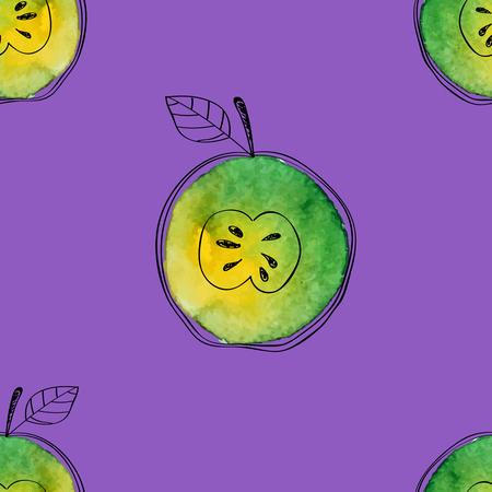 Vector Naadloos patroon van waterverf groene appel met zwarte hand-drawn elementen. Op contrast violette achtergrond. Gegroepeerd en geïsoleerd. Modern ontwerp. Creatieve stijl. Handgemaakt.