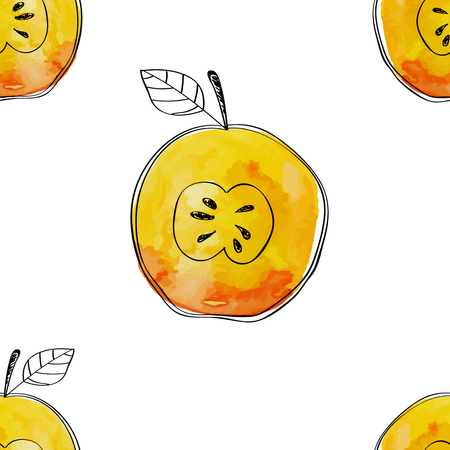 Vector Seamless pattern of watercolor yellow apple with black hand-drawn elements. On white background. Grouped and isolated. Modern design. Creative style. Handmade.