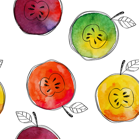 contrasting: Vector Seamless pattern of watercolor yellow, green, red, orange apple with black hand-drawn elements. On white background. Grouped and isolated. Modern design. Creative style. Handmade. Illustration