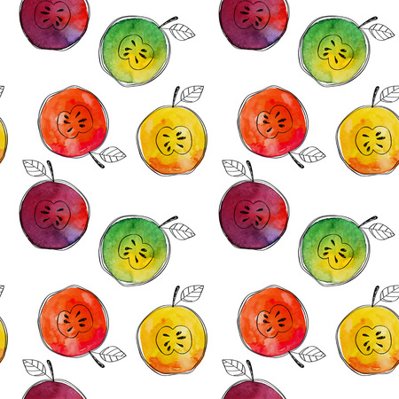 Vector Seamless pattern of watercolor yellow, green, red, orange apple with black hand-drawn elements. On white background. Grouped and isolated. Modern design. Creative style. Handmade. Stock Illustratie
