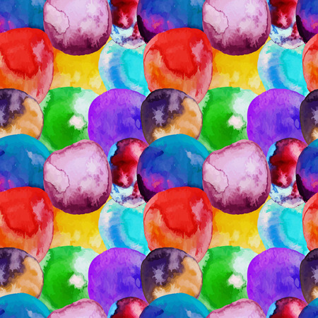 Vector Seamless pattern of watercolor yellow, green, red, orange spots . Rainbow wallpaper. Cool print. Modern design. Creative style. Handmade. Stock Illustratie