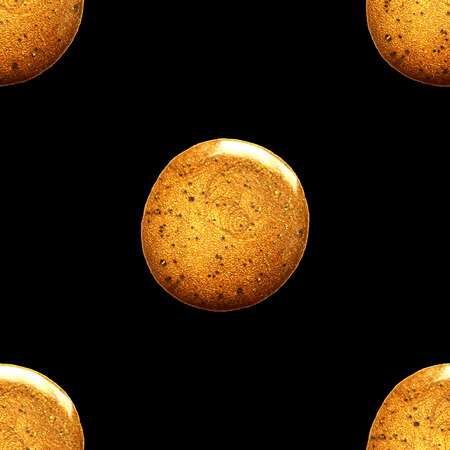 Seamless vector pattern with shine glitter dots. Gold draw blots. Hand-made. Isolated on black background. Fabric print. Wallpaper