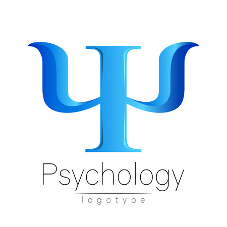 clinical psychology: Modern logo of Psychology. Psi. Creative style. Logotype in vector. Design concept. Brand company. Blue color letter on white background. Symbol for web, print, card. Bright Illustration