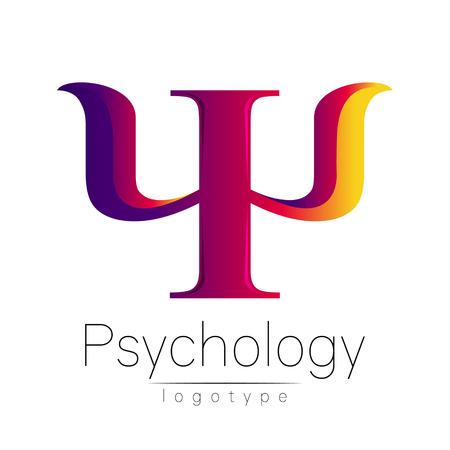 Nowoczesne logo psychologii. Psi. Styl twórczy. Logotyp w wektorze. Zarys projektu. Firma marki. Fioletowy żółty różowy kolor list na białym tle. Symbol sieci web, drukowanie, karta. Jasny