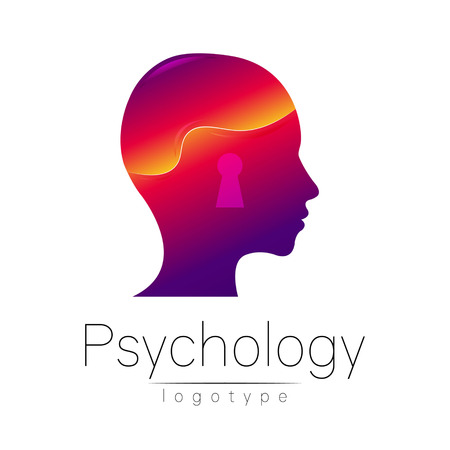 clinical psychology: Modern head logo of Psychology. Profile Human. Creative style. Logotype in vector. Design concept. Brand company. Violet color isolated on white background. Symbol for web, print, card. Keyhole Illustration