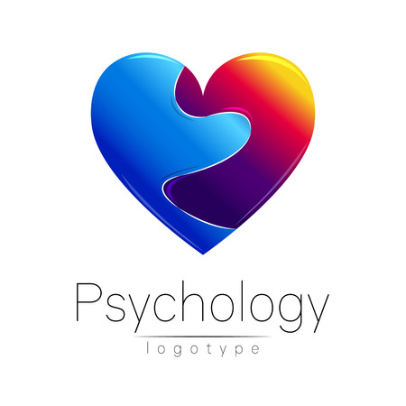 clinical psychology: Modern logo of Psychology. Broken heart. . Creative style. Logotype in vector. Design concept. Brand company. Blue and grief red color on white background. Symbol for web, print, card, flyer. Loss pain