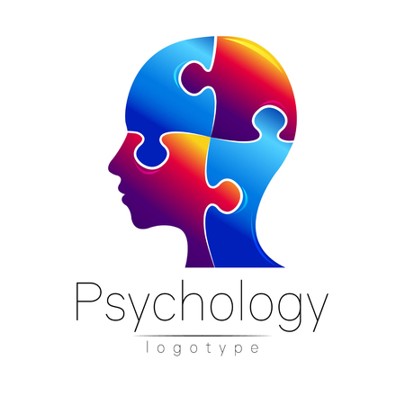 Modern head puzzle logo of Psychology. Profile Human. Creative style. Logotype in vector. Design concept. Brand company. Blue color isolated on white background. Symbol for web, print, card, flyer. Illustration