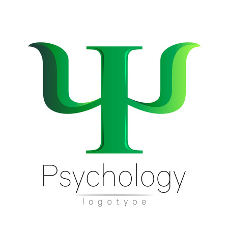 Modern logo of Psychology. Psi. Creative style. Logotype in vector. Design concept. Brand company. Green color letter on white background. Symbol for web, print, card. Bright Ilustração