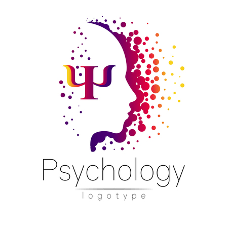 Modern head logo of Psychology. Profile Human. Creative style. Logotype in vector. Design concept. Brand company. Violet color isolated on white background. Symbol for web, print