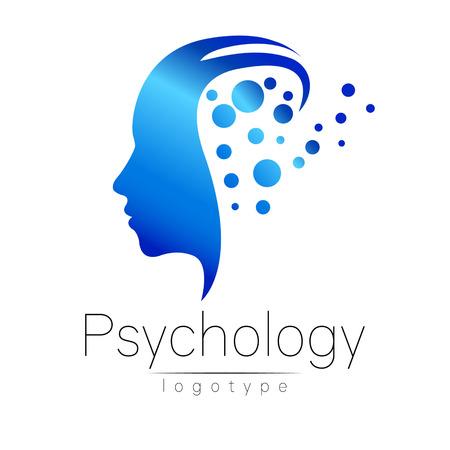 Moderne logo de la tête de psychologie. Profil humain. le style créatif. Logotype dans le vecteur. Concept design. société Brand. La couleur bleue isolé sur fond blanc. Symbole pour le web, print, carte. Trou de serrure