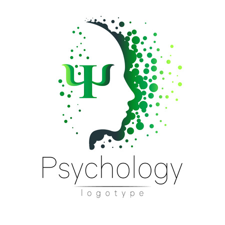 Modern head logo of Psychology. Profile Human. Creative style. Logotype in vector. Design concept. Brand company. Green color isolated on white background. Symbol for web, print Ilustração