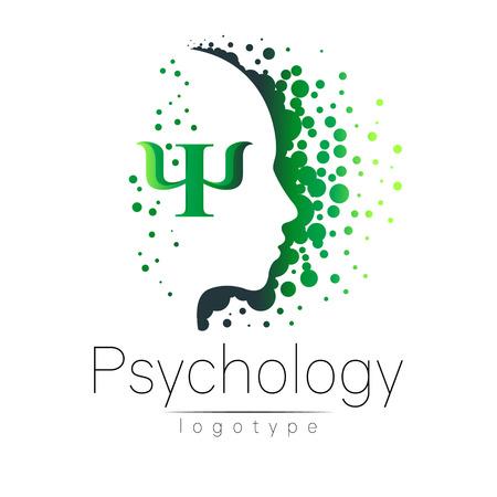 Nowoczesne logo głowy psychologii. Profil ludzki. Styl twórczy. Logotyp w wektorze. Zarys projektu. Firma marki. Zielony kolor samodzielnie na białym tle. Symbol sieci web, druk