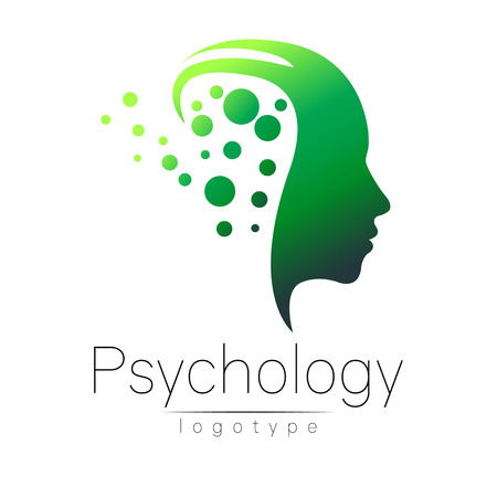 Modern head logo of Psychology. Profile Human. Creative style. Logotype in vector. Design concept. Brand company. Green color isolated on white background. Symbol for web, print, card. Keyhole