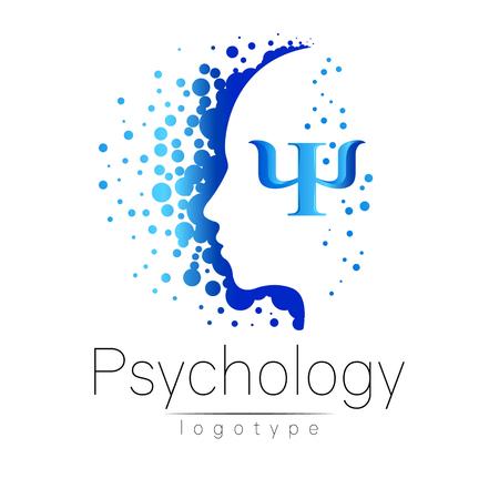 心理学の現代ヘッドのロゴ。人間をプロファイルします。創造的なスタイルです。ベクトルのロゴ。デザイン コンセプト。ブランド企業。青の色は