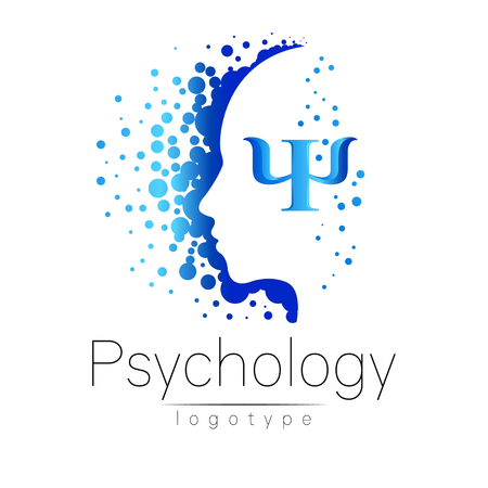 Modern head logo of Psychology. Profile Human. Creative style. Logotype in vector. Design concept. Brand company. Blue color isolated on white background. Symbol for web, print