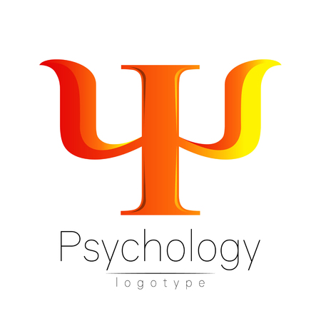 clinical psychology: Modern logo of Psychology. Psi. Creative style. Logotype in vector. Design concept. Brand company. Orange color letter on white background. Symbol for web, print, card. Bright Illustration
