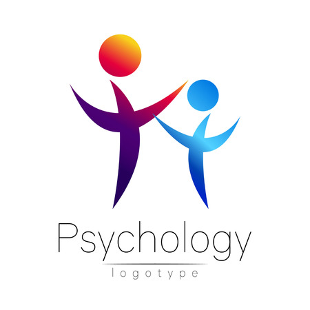 Moderne Menschen psi Logo der Psychologie. Familie Mensch. Kreative Stil. Signet in Vektor. Design Konzept. Markenunternehmen. Violet blaue Farbe auf weißem Hintergrund. Symbol für Web, Print