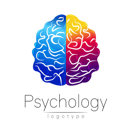 Modern Brain logo of Psychology. Human. Creative style. Logotype in vector. Design concept. Brand company. Blue violet left right color isolated on white background. Symbol for web, print, card. Mind