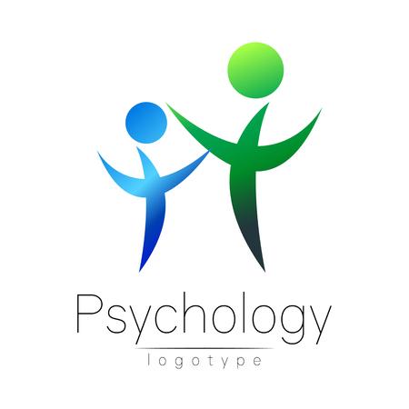 Nowożytni ludzie psi logo Psychologii. Rodzina ludzka. Styl twórczy. Logotyp w wektorze. Zarys projektu. Firma marki. Zielony kolor niebieski samodzielnie na białym tle. Symbol sieci web, druk Logo