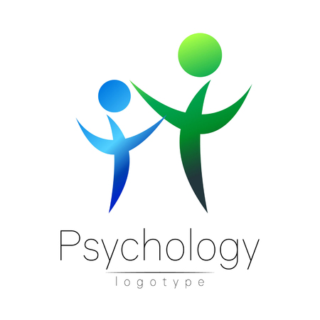 Modern people psi logo of Psychology. Family Human. Creative style. Logotype in vector. Design concept. Brand company. Green blue color isolated on white background. Symbol for web, print Illustration