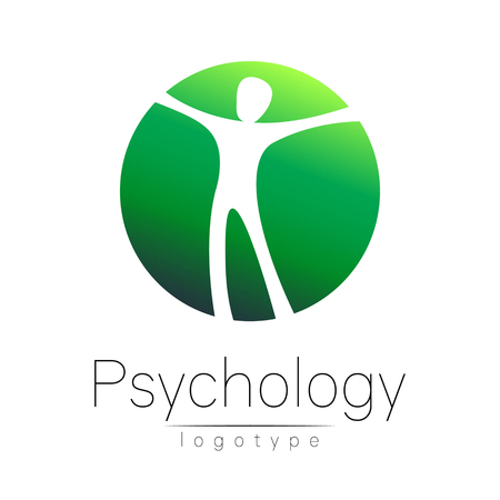 Modern head logo of Psychology. Human in a circle . Creative style. Logotype in vector. Design concept. Brand company. Green color isolated on white background. Symbol for web, print, card. Keyhole Ilustração