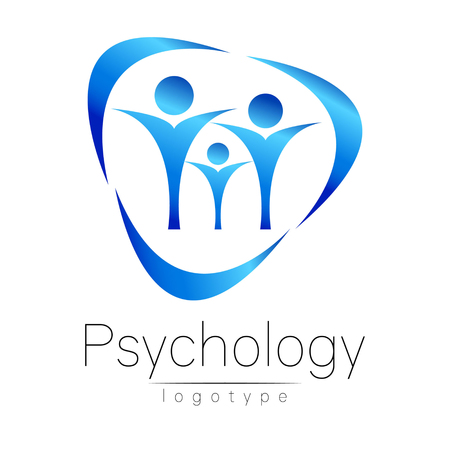clinical psychology: Modern Family logo of Psychology. People in a circle. Creative style. Logotype in vector. Design concept. Brand company. Blue color isolated on white background. Symbol for web, print, card Illustration
