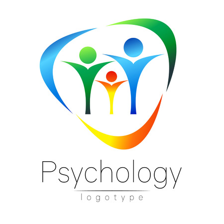Modern Family logo of Psychology. People in a circle. Creative style. Logotype in vector. Design concept. Brand company. Blue green orange color isolated on white background. Symbol for web, print, card Vettoriali