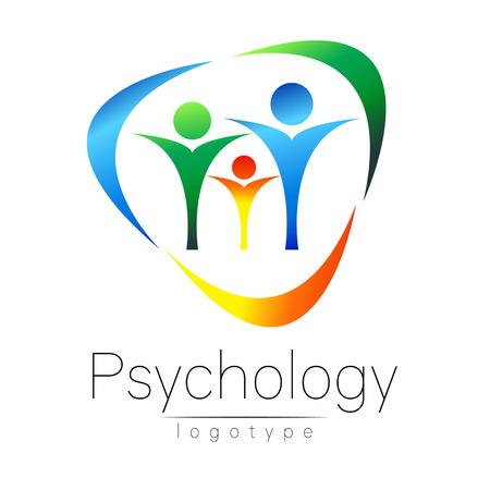 Nowoczesne rodzinne logo psychologii. Ludzie w kręgu. Kreatywny styl. Logotyp w wektorze. Zarys projektu. Marka firmy. Błękitny zielony pomarańczowy kolor odizolowywający na białym tle. Symbol sieci, drukowania, karty