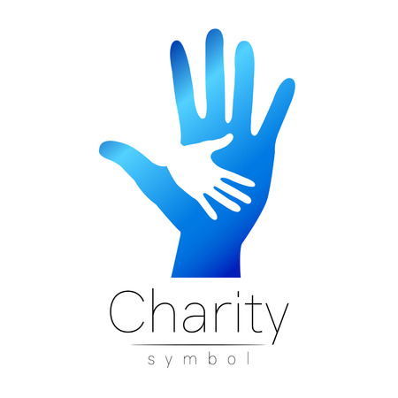Vector illustration. Symbol of Charity. Sign hand isolated on white background.Blue Icon company, web, card, print. Modern bright element. Charity for orphans Help kids campaign. Family children image Illustration