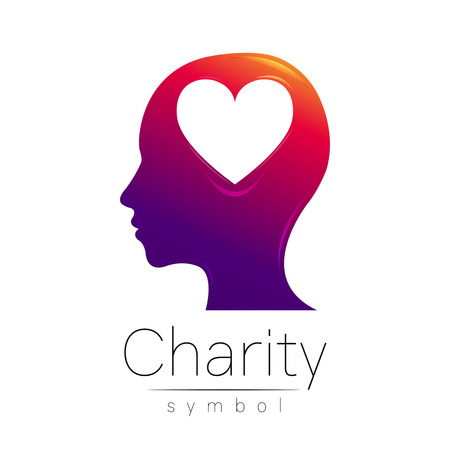 Vector illustration. Symbol of Charity. Sign head heart isolated on white background.Violet Icon company, web, card. Modern bright element. Charity for orphans Help kids campaign. Family children image Illustration