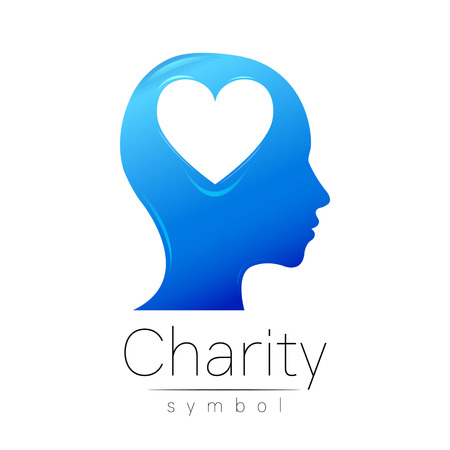 Vector illustration. Symbol of Charity. Sign head heart isolated on white background.Blue Icon company, web, card. Modern bright element. Charity for orphans Help kids campaign. Family children image Illustration