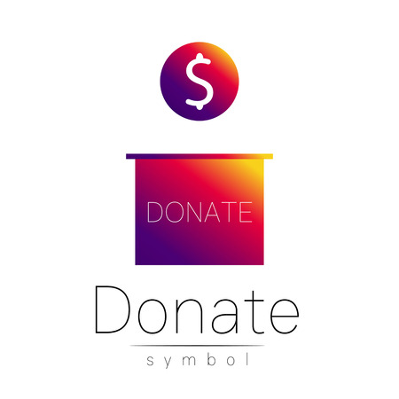 avarice: Donation sign icon. Donate money box. Charity or endowment symbol. Human helping. Icon on white background. Vector.Violet color. Concept.