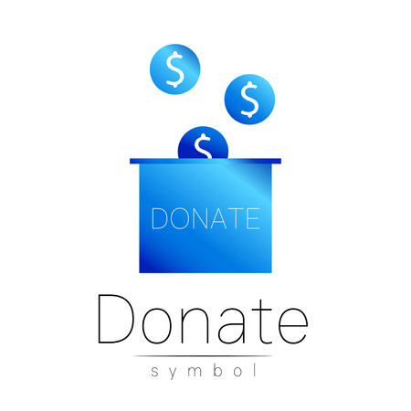 avarice: Donation sign icon. Donate money box. Charity or endowment symbol. Human helping. Icon on white background. Vector.Blue color. Concept.
