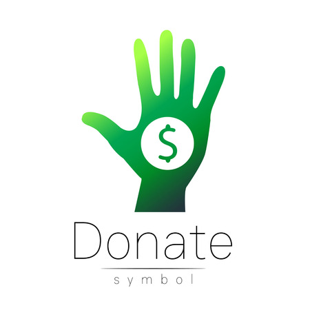 Donation sign icon. Donate money hand. Charity or endowment symbol. Human helping. Icon on white background. Vector.Green color. Concept. Illustration