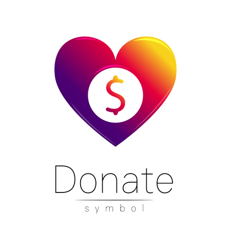 avarice: Donation sign icon. Donate money heart. Charity or endowment symbol. Human helping. Icon on white background. Vector.Violet color. Concept. Illustration