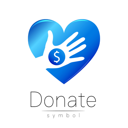 Donation sign icon. Donate money hand and heart. Charity or endowment symbol. Human helping. Icon on white background. Vector.Blue color. Concept. Illustration