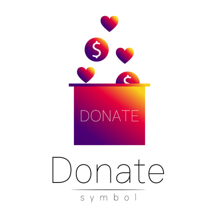 avarice: Donation sign icon. Donate money box and heart. Charity or endowment symbol. Human helping. Icon on white background. Vector.Violetc olor. Concept.