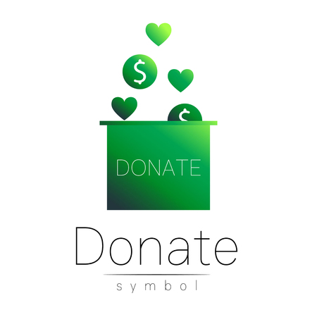 avarice: Donation sign icon. Donate money box and heart. Charity or endowment symbol. Human helping. Icon on white background. Vector.Green olor. Concept. Illustration