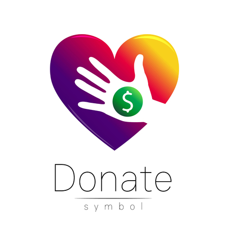 avarice: Donation sign icon. Donate money hand and heart. Charity or endowment symbol. Human helping. Icon on white background. Vector.Violet color. Concept.