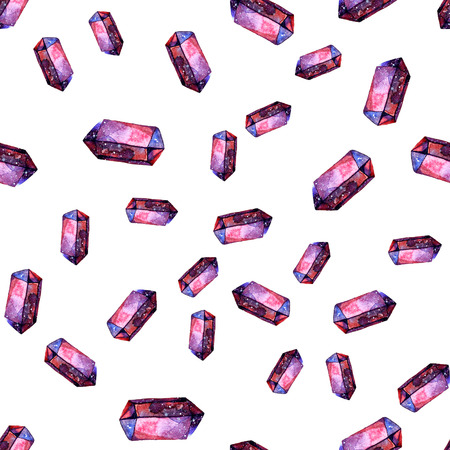 Watercolor illustration of diamond crystals - seamless pattern. Print for textile, fabric, wallpaper. Hand made painting. Jewel on white background. Unusual modern ornate. Stock Photo