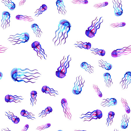 hydrozoa: Hand drawn jellyfish. Watercolor pattern. Sea seamless element. Design on white background. Unusual and modern. For textile, fabric and wallpaper. Blue pink violet color Stock Photo