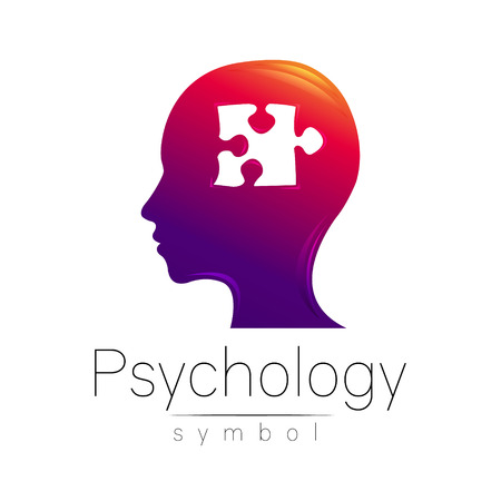 clinical psychology: Modern head sign of Psychology. Puzle. Profile Human. Creative style. Symbol in vector. Design concept. Brand company. Violet color isolated on white background. Icon for web Illustration