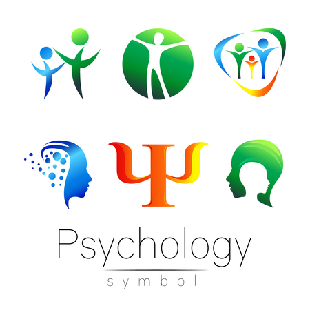 Modern head sign Set of Psychology. Profile Human. Creative style. Symbol in vector. Design concept. Brand company. Green blue orange violet color isolated on white background. Icon for web Illusztráció