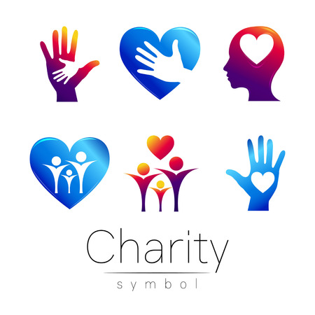Vector Set illustration. Symbol of Charity.Sign people heart hean hand isolated on white background.Violet blue Icon company, web, card.Modern bright element. orphans Help kids campaign.Family image Illustration