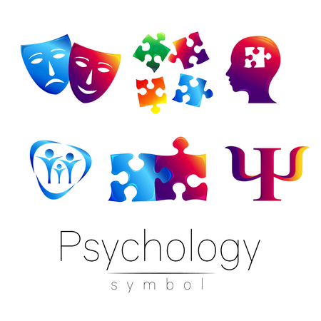 Modern head sign Set of Psychology. Profile Human. Creative style. Symbol in vector. Design concept. Brand company. Green blue orange violet color isolated on white background. Icon for web Illustration
