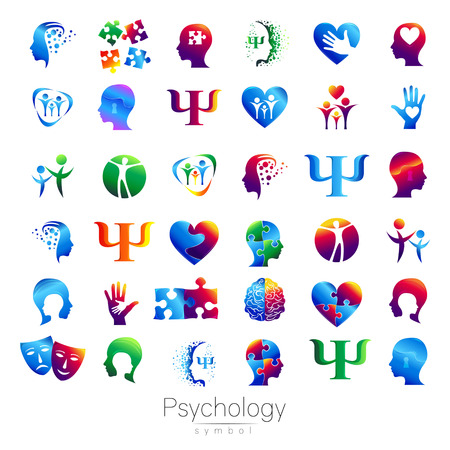 Modern head sign Set of Psychology. Profile Human. Creative style. Symbol in vector. Design concept. Brand company. Green blue orange violet color isolated on white background. Icon for web Ilustracja